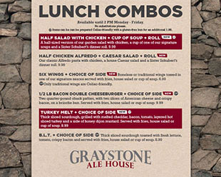 Graystone Ale House -  Lunch Combos